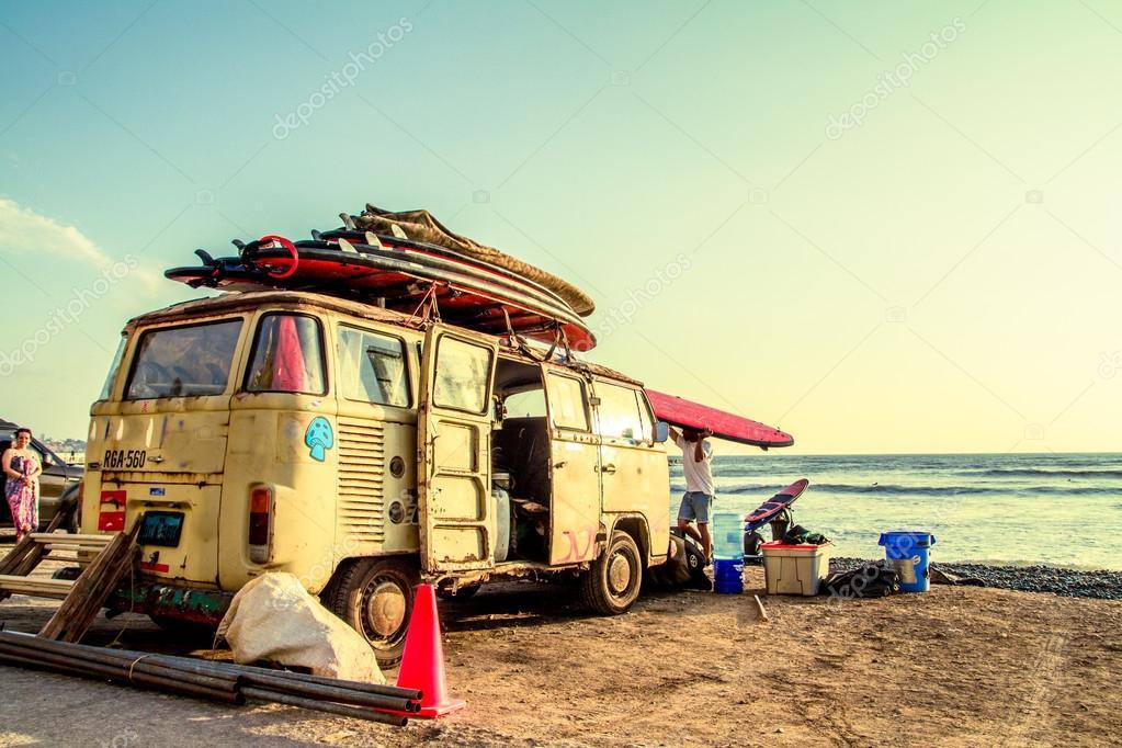 Hippie Surfboard Van on the beach