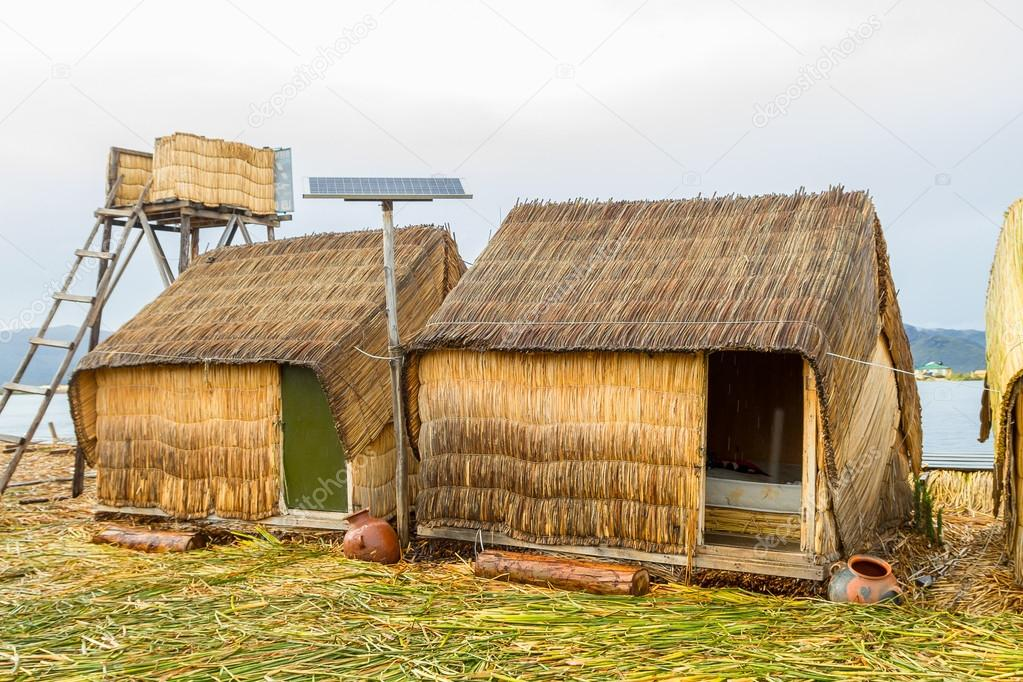 Hand made houses in Uros, Peru, South America.