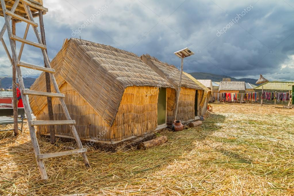 Hand made houses in Uros, Peru, South America.
