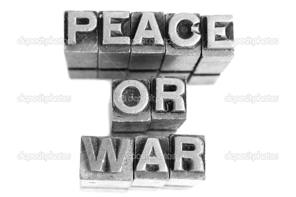 Peace Or War Sign Antique Metal Letter Type Stock Photo