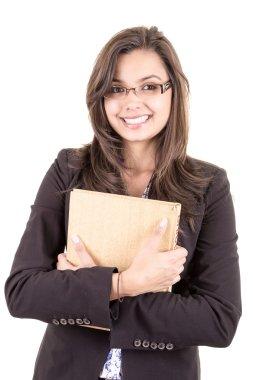 Pretty smiling hispanic teacher