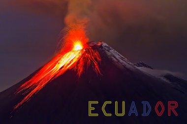 Tungurahua volcano with banner of Ecuador