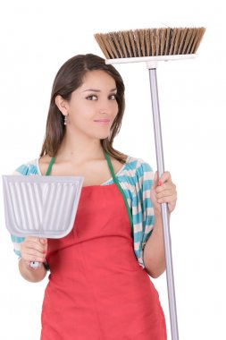 Young smiling cleaning woman. Isolated over white background.