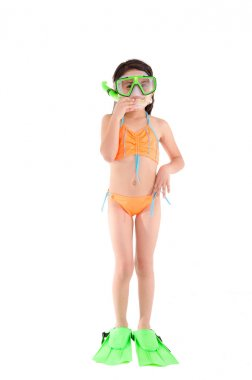 Girl in a swimsuit, beachwear, studio shot, scuba gear