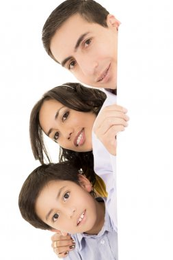 Happy latino family portrait - isolated over a white background