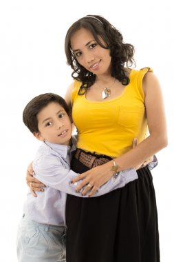 Happy latino family portrait mother and child- isolated over a white background