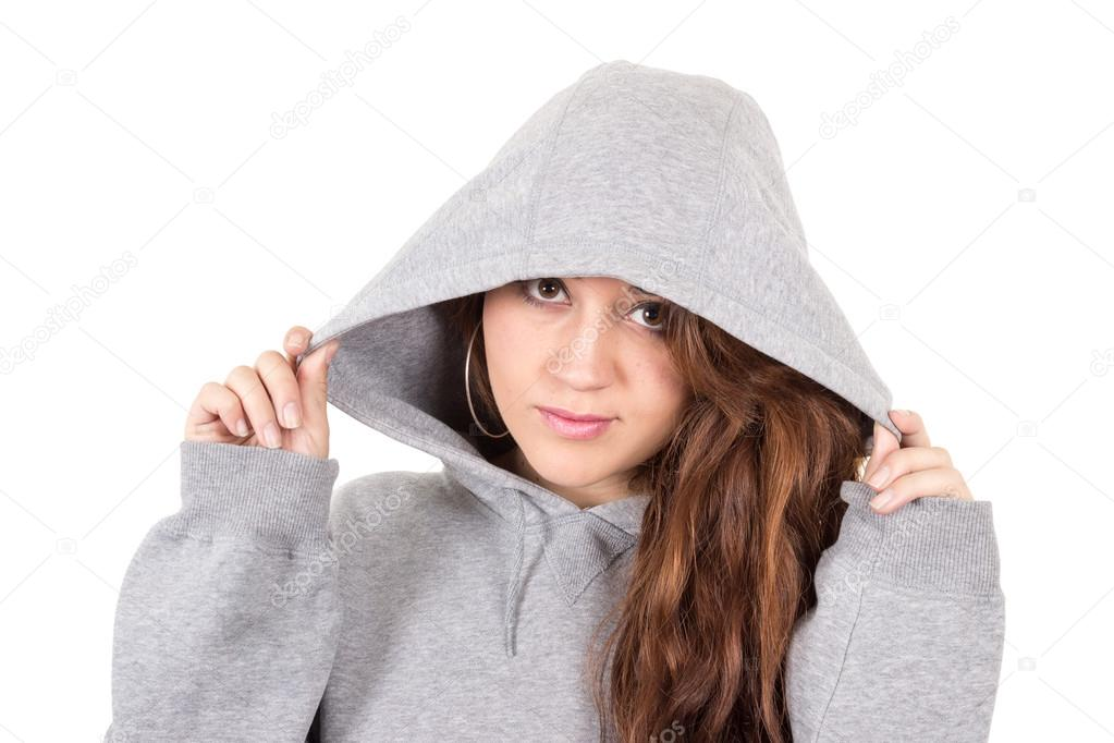 6aec4edd8bf attractive young red haired girl wearing grey hoodie — Stock Photo ...