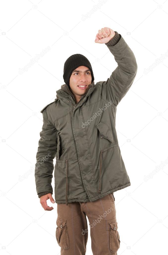 Bonnet Et Manteau Porte Homme Latin Un Jeune Vert D'hiver qY8Sxxa