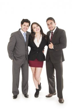 two young men and a beautiful girl dressed in suits