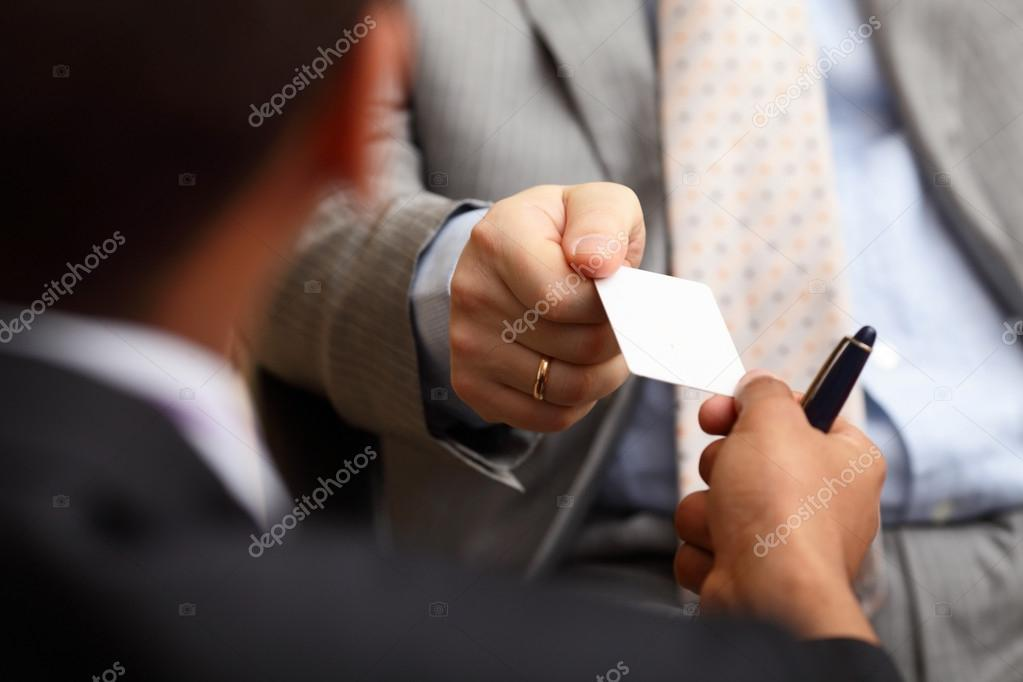 Exchanging the business cards