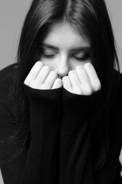 Black and white closeup portrait of a nervous woman stock vector