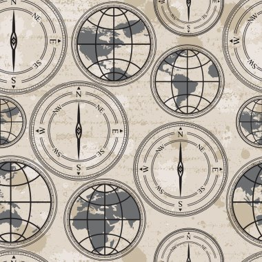 Seamless retro grunge background with globe and compass clip art vector