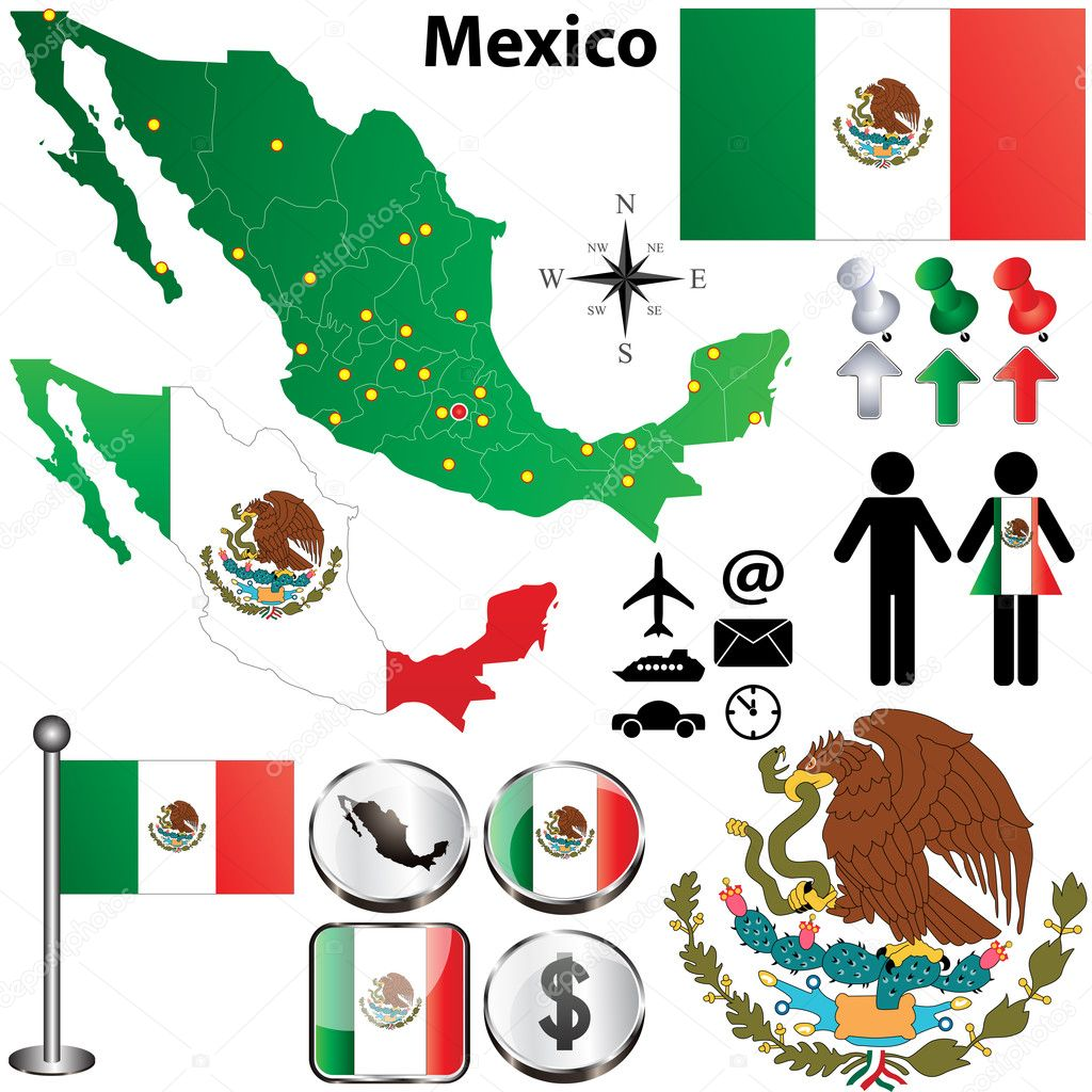Mexico map with regions Stock Vector sateda 21546547