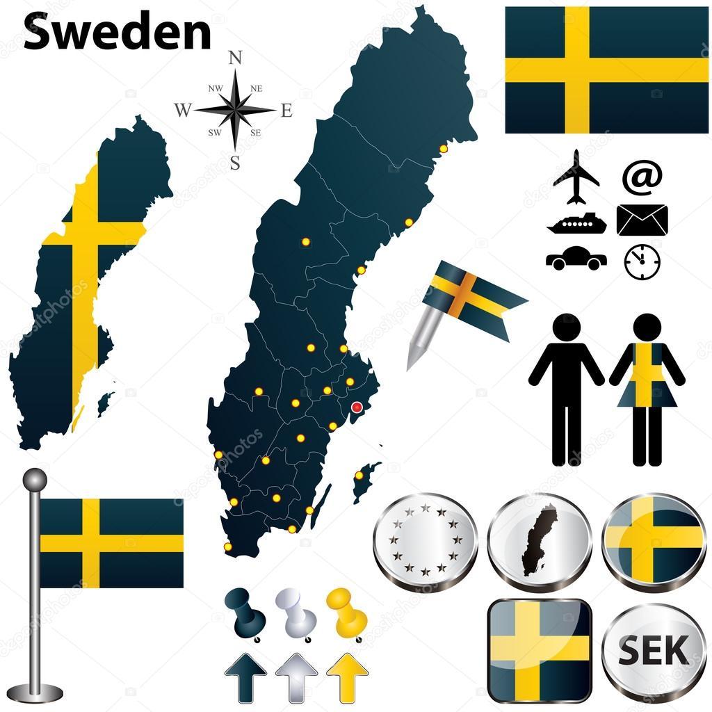 Schweden Karte Regionen.Karte Von Schweden Mit Regionen Stockvektor C Sateda 24842111