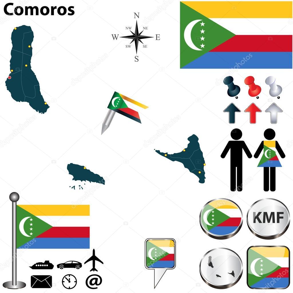Map of Comoros Stock Vector sateda 29631737