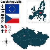 Mapa České republiky s Evropskou unií