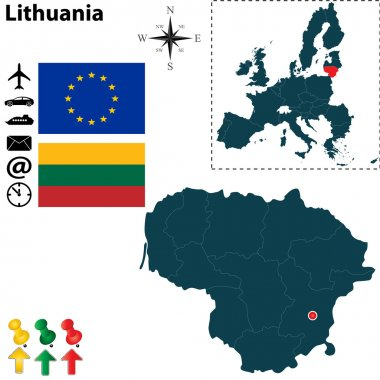 Map of Lithuania with European Union