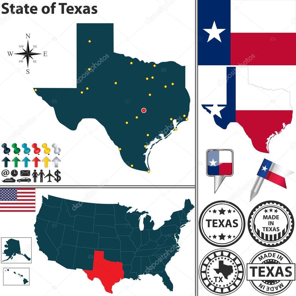 Mapa Del Estado De Texas Estados Unidos Vector De Stock - Mapa de texas usa