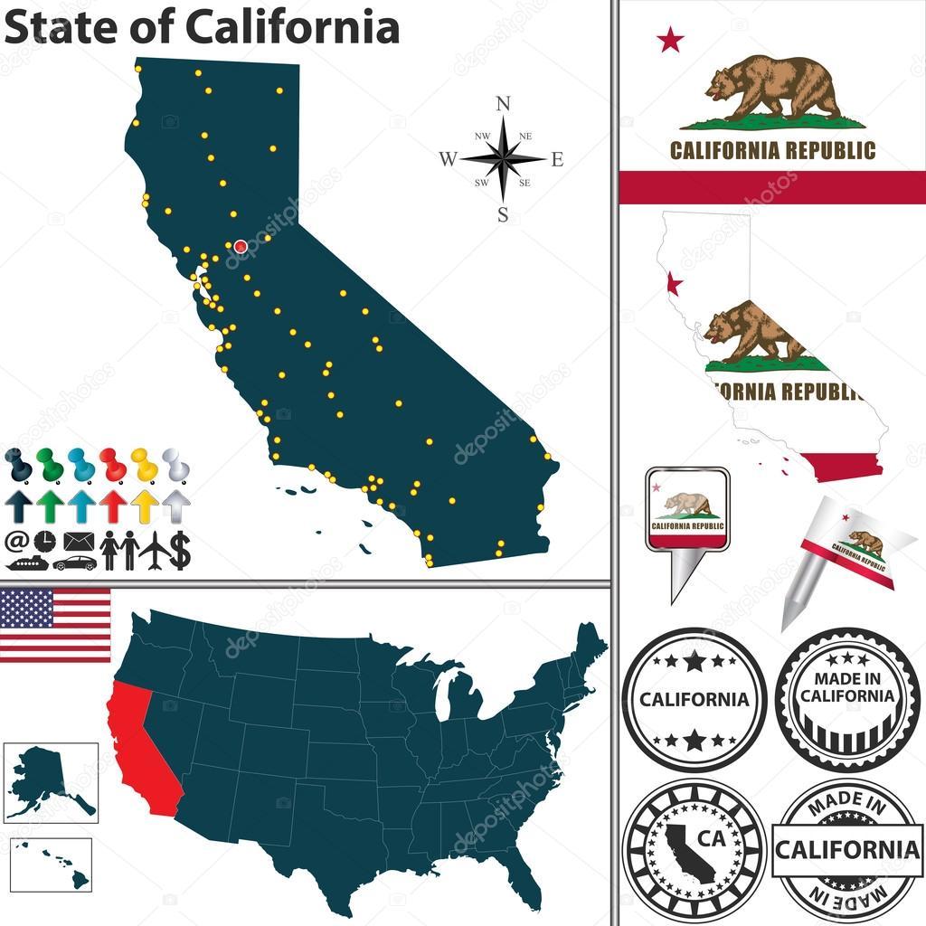 Map Of State California USA Stock Vector Sateda - Mapa de california usa