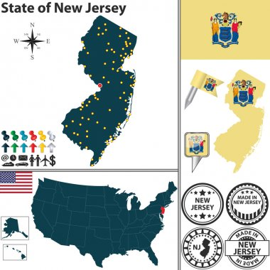 Map of state New Jersey, USA