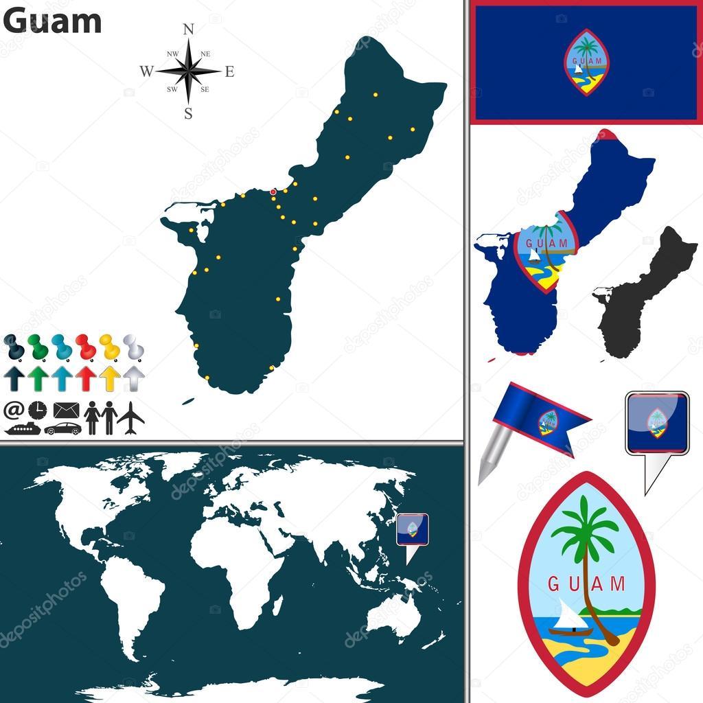 グアムの地図 \u2014 ストックベクター © sateda 46491019