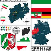 Fotografie Karte von Nordrhein-Westfalen, Deutschland