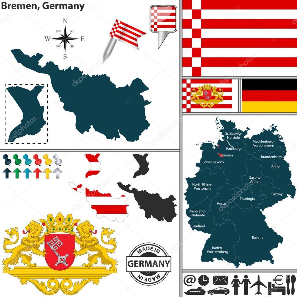 Map of Bremen Germany Stock Vector sateda 48759073