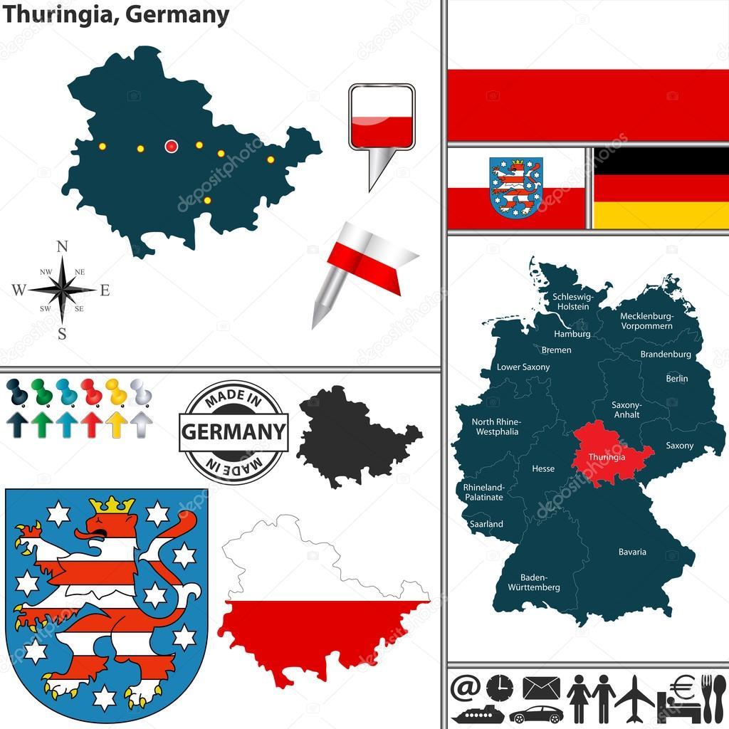Carte Allemagne Thuringe.Carte De Thuringe Allemagne Image Vectorielle Sateda C 48759137