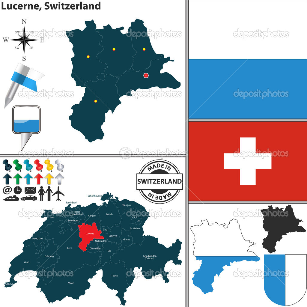 Map of Lucerne Switzerland Stock Vector sateda 49871267