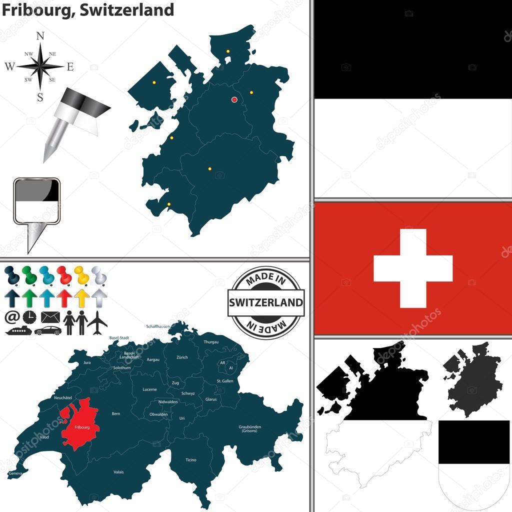Freiburg Schweiz Karte.Karte Von Freiburg In Der Schweiz Stockvektor C Sateda