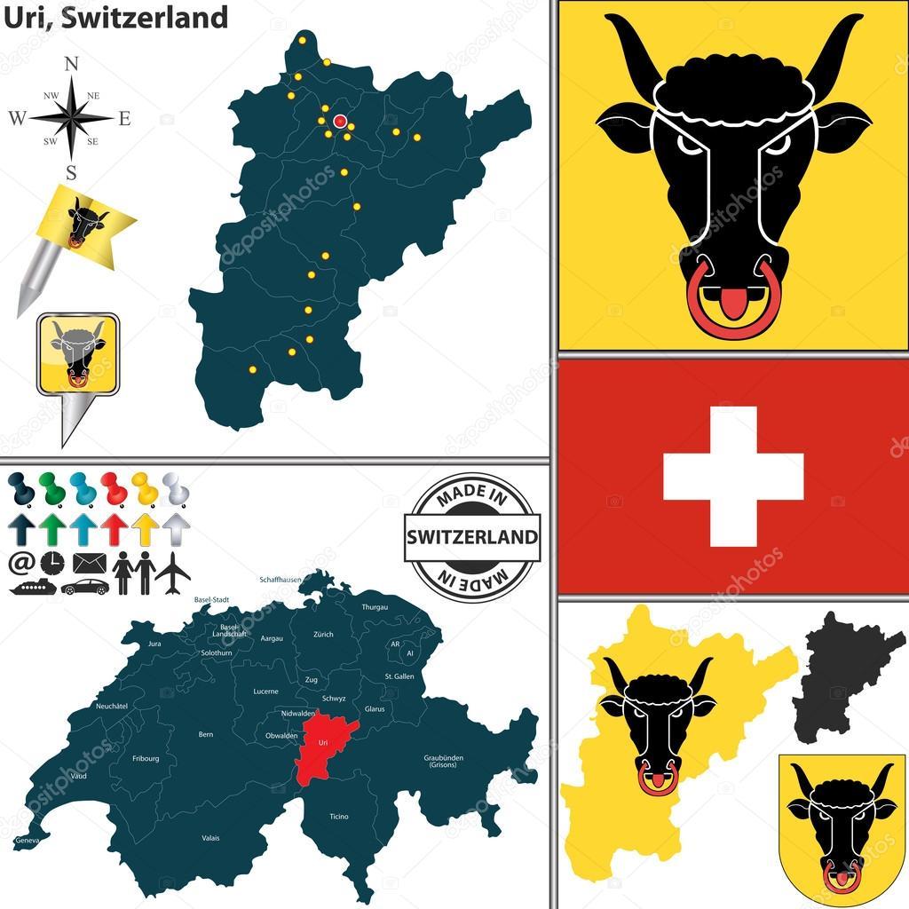 Map of Uri Switzerland Stock Vector sateda 49871301