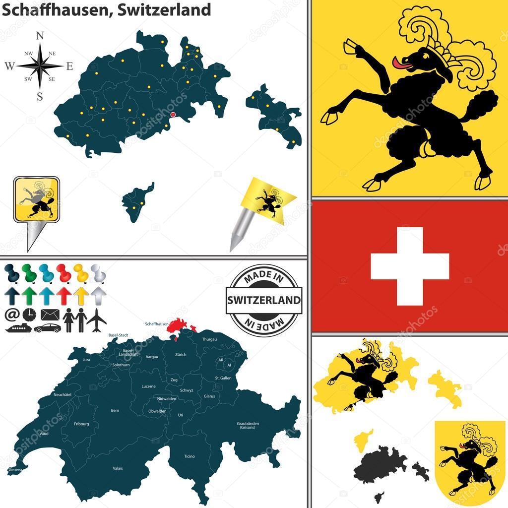 Map of Schaffhausen Switzerland Stock Vector sateda 49871303