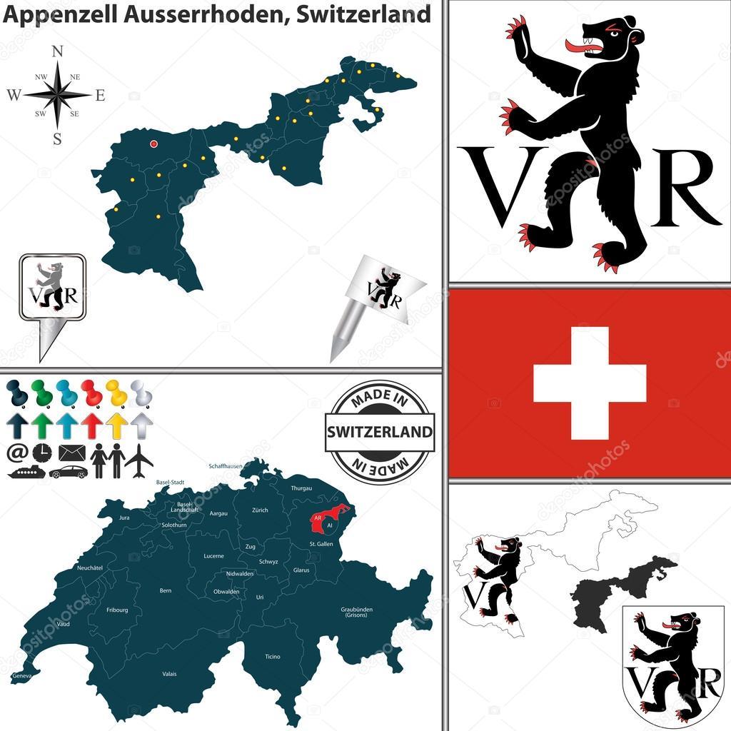 Map of Appenzell Ausserrhoden, Switzerland — Stock Vector © sateda ...