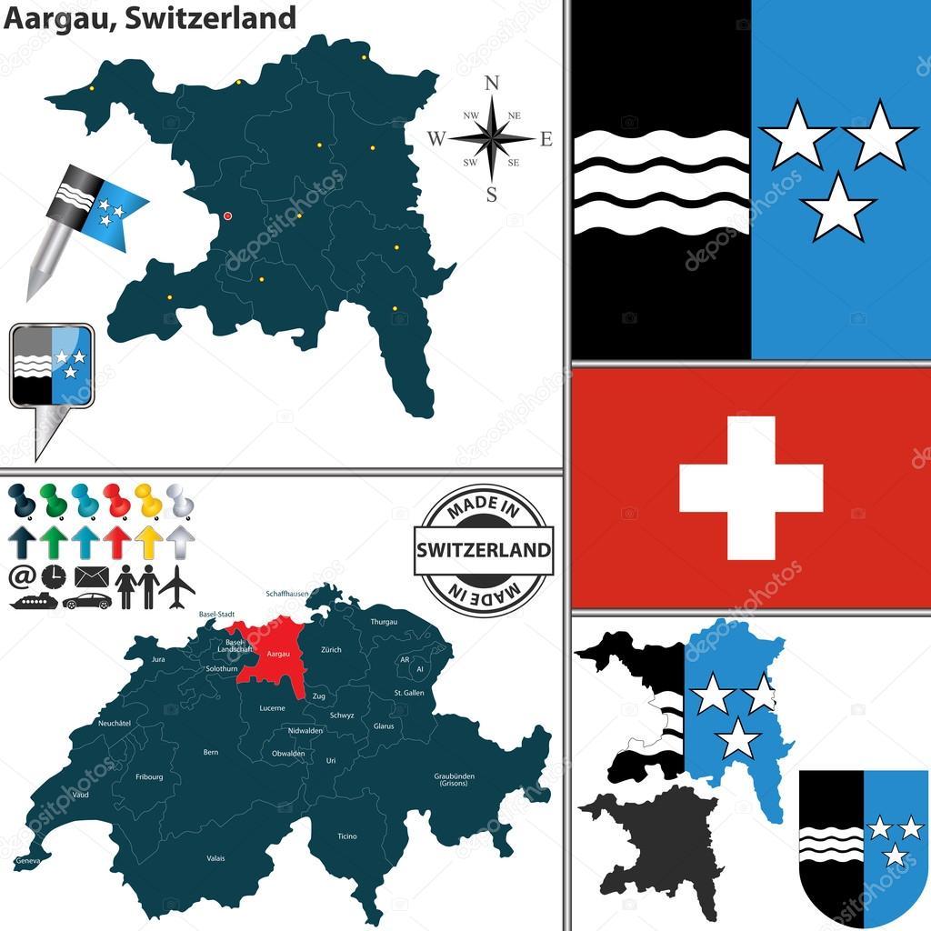Map of Aargau Switzerland Stock Vector sateda 50558487