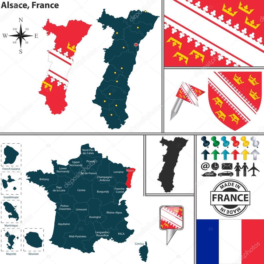Elsass Karte Frankreich.Karte Von Elsass Frankreich Stockvektor C Sateda 51019505