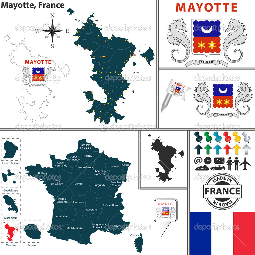 Map of Mayotte France Stock Vector sateda 51797457