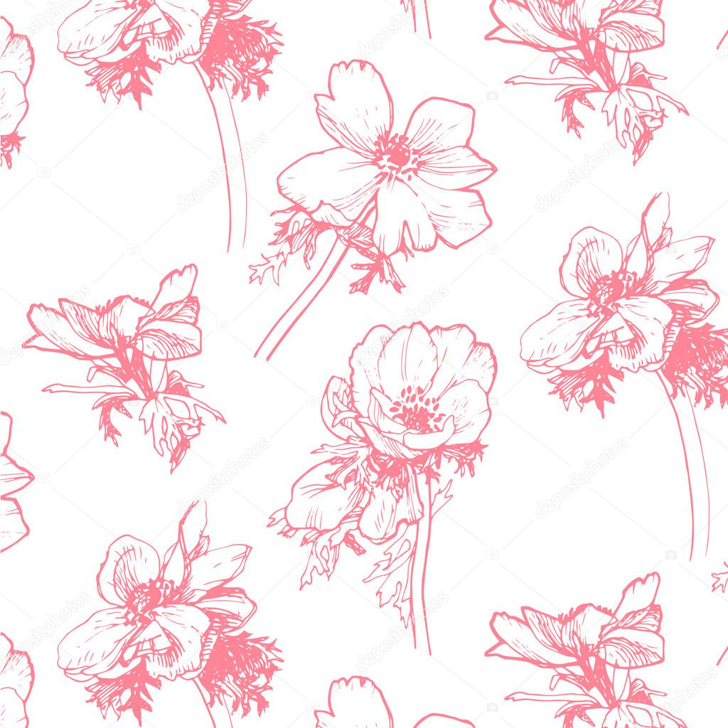 Anemone pattern. Hand-drawing