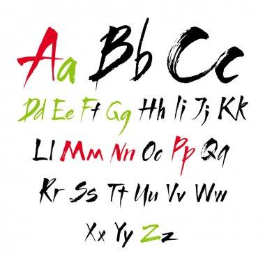 The alphabet in calligraphy brush.