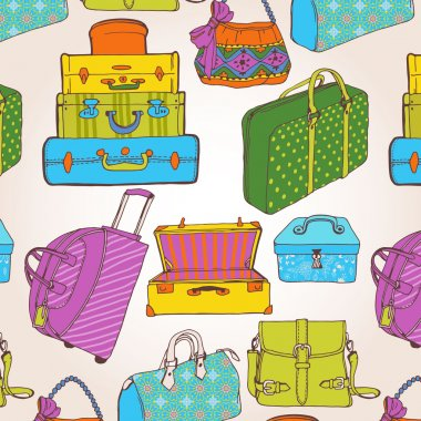 Seamless pattern with a lot of bags and suitcases