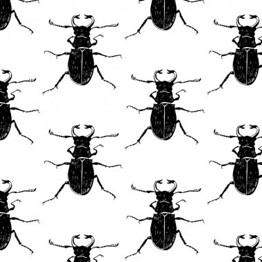 Seamless pattern with trend beetles