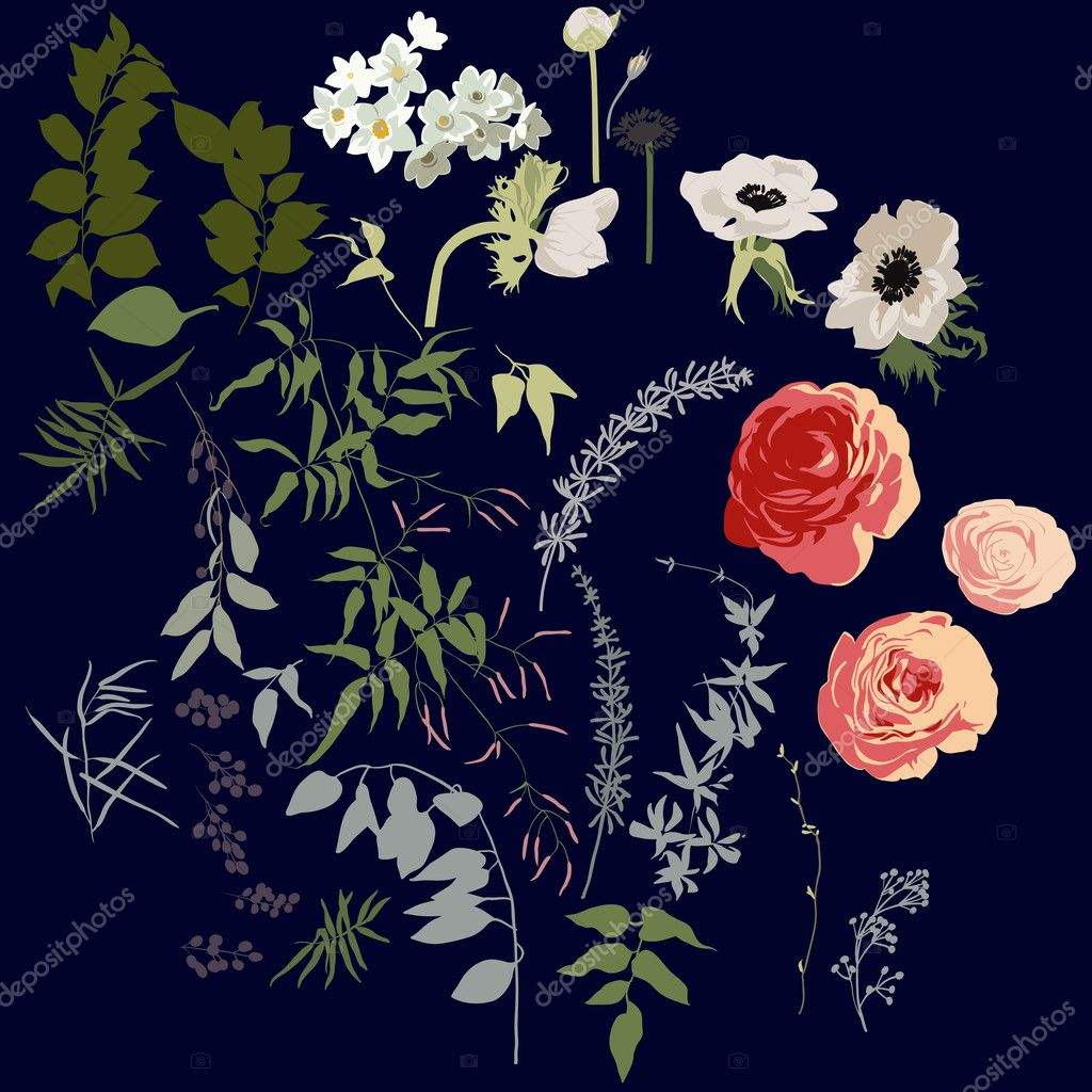 Large set of flowers, berries and leaves for bouquets and other graphic elements