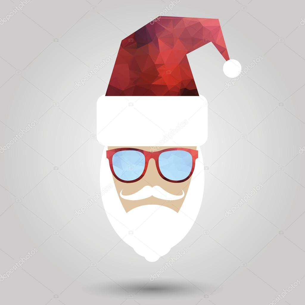 Merry Christmas Background With Santa In Hipster Style Stock Vector