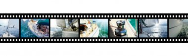 Film strip with pictures Yacht in the open sea