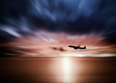 Airline flying in the sky at night