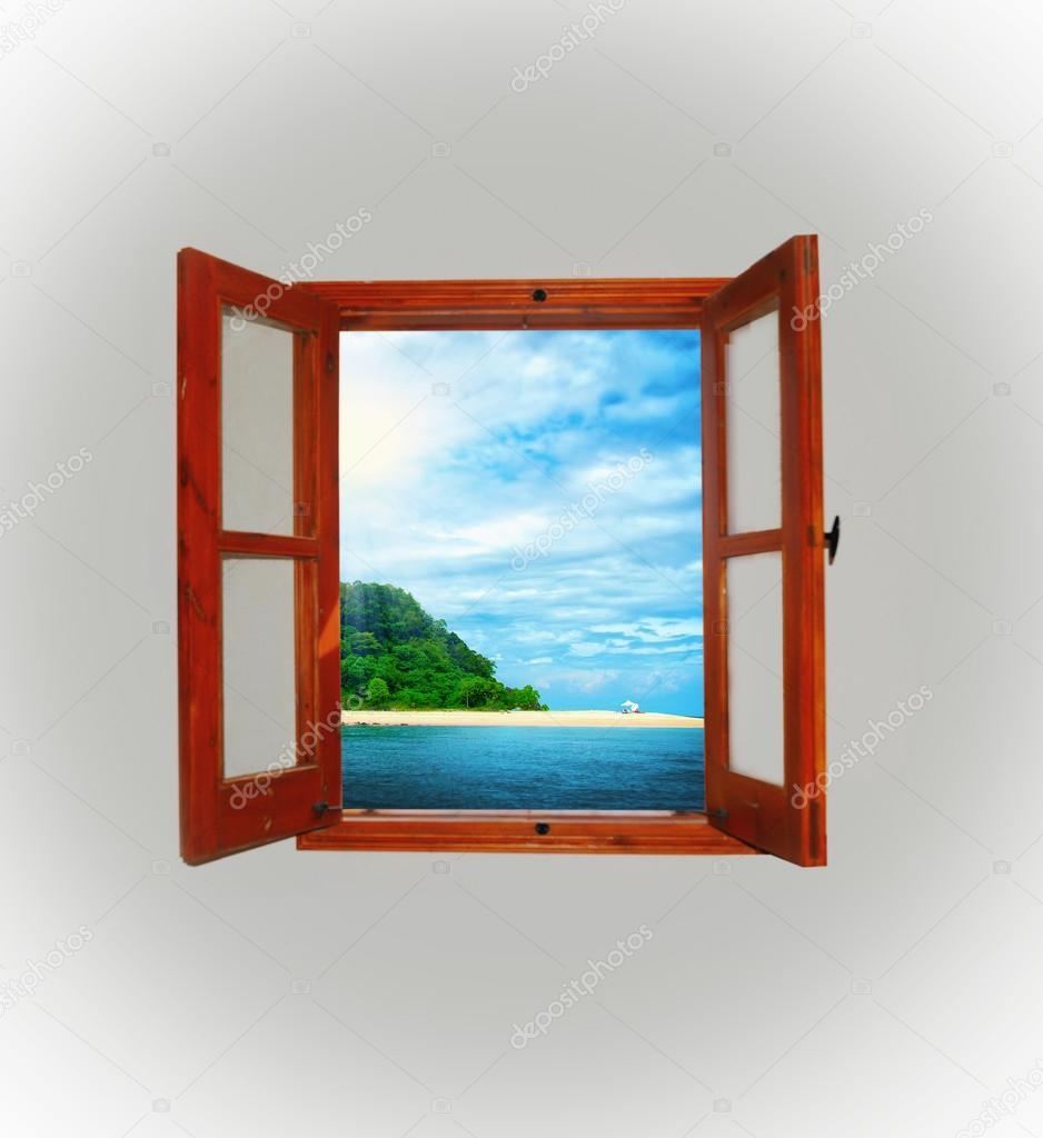 Blick auf das Meer durch ein offenes Fenster — Stockfoto © Lebval #22496313