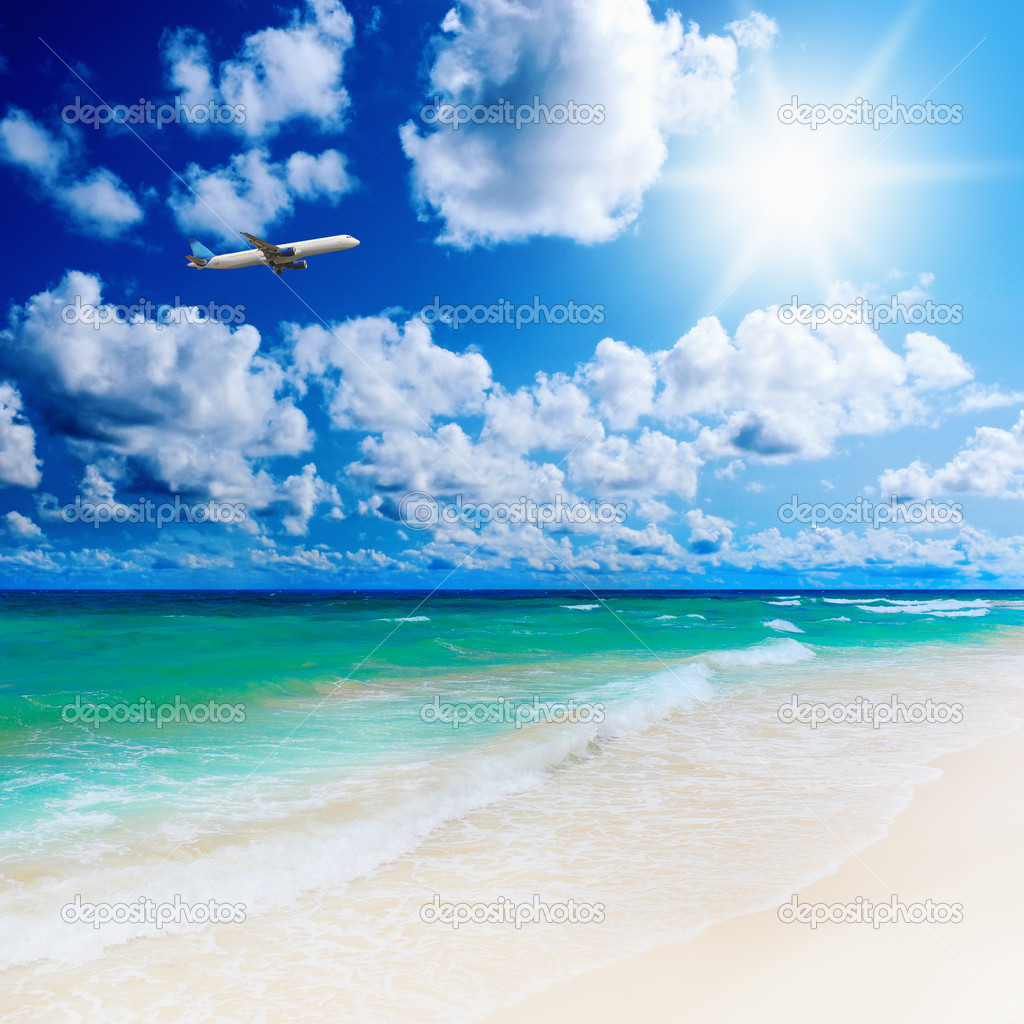 Beautiful Sunny Day At Tropical Beach Royalty Free Stock: Sunny Tropical Beach On The Island