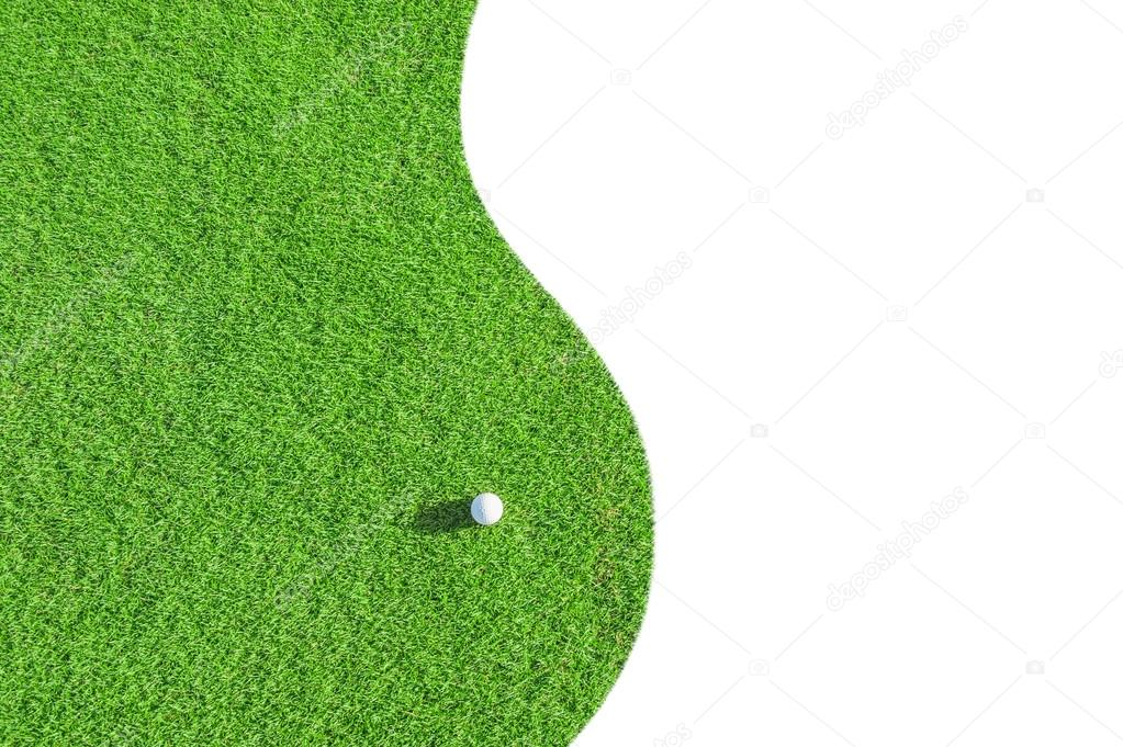 f49cc7152c Club de golf. campo de golf verde y bola en hierba aislado sobre fondo  blanco — Foto de Lebval