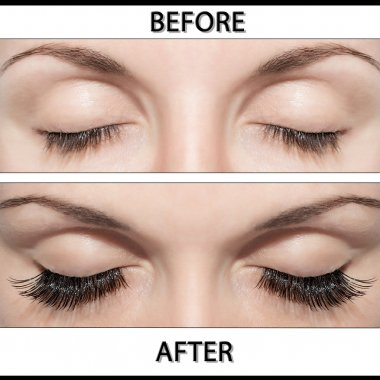 Close Beautiful eyes with natural eyelashes to and false eyelashes afte stock vector