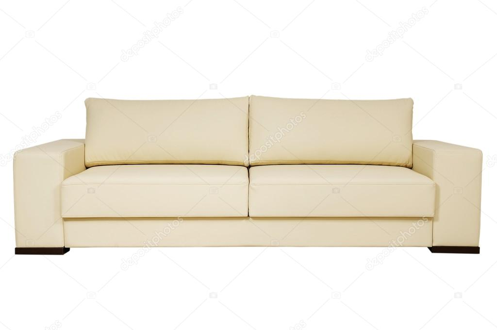 Chic Leather Sofa Beige Color On A White Background Stock Photo C Redstar In Ua 14060447