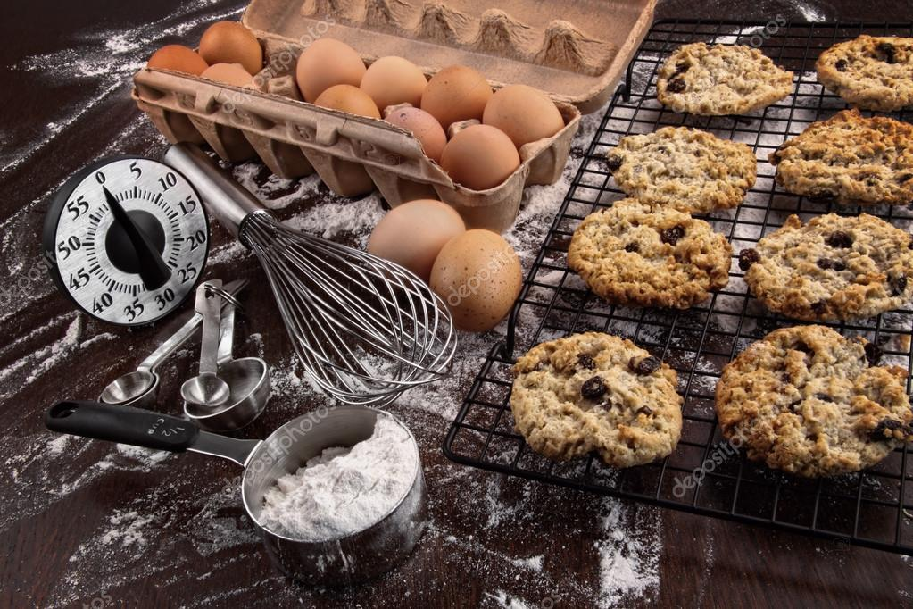 Freshly baked raisin and oatmeal cookies from oven